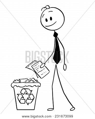 Cartoon Stick Man Drawing Conceptual Illustration Of Businessman Throwing Paper In Recycle Trash Bin