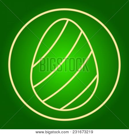 Egg With Decorative Stripes In Neon Circle. Easter. Neon Icon. Neon Sign. Effect Of Neon Glow. Vecto