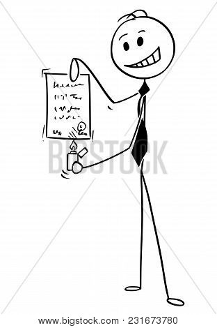 Cartoon Stick Man Drawing Conceptual Illustration Of Businessman Igniting And Burning Sheet Of Paper