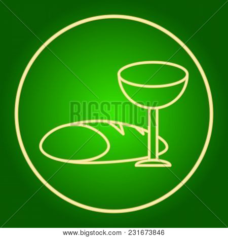 A Glass And Bread In A Neon Circle. Easter. Neon Icon. Neon Sign. Effect Of Neon Glow. Vector Image.
