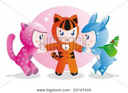 Children in costumes for the eastern calendar years - the tiger the rabbit and the cat. poster
