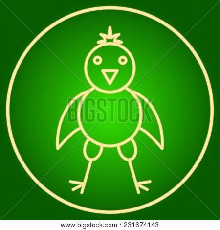 The Chicken In The Neon Circle. Easter. Neon Icon. Neon Sign. Effect Of Neon Glow. Vector Image.