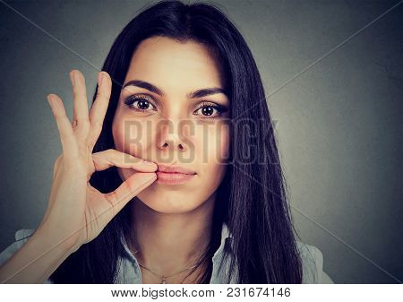 Keep A Secret, Woman Zipping Her Mouth Shut. Quiet Concept
