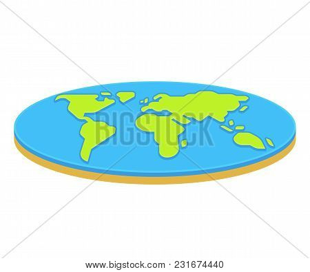 Flat Earth Concept Illustration. Ancient Cosmology Model And Modern Pseudoscientific Conspiracy Theo