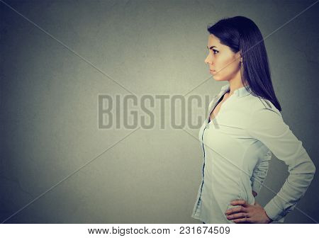 Side Profile Of A Serious Young Woman
