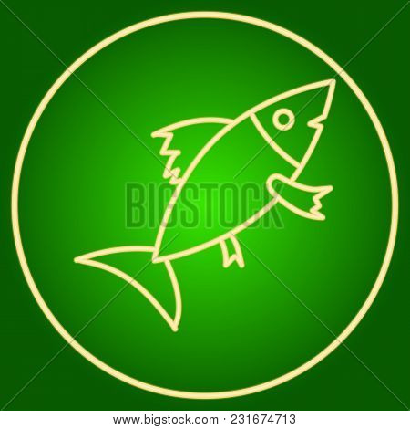 Fish In A Neon Circle. Easter. Neon Icon. Neon Sign. Effect Of Neon Glow. Vector Image.