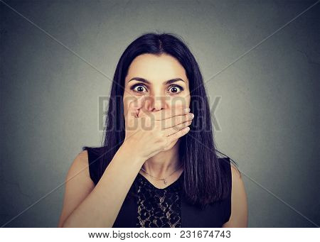 Concerned Scared Woman With Hand On Mouth