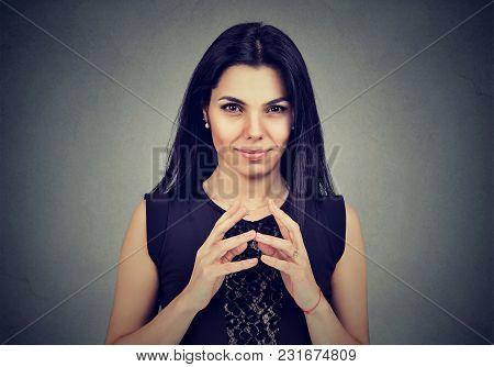Sly, Scheming Woman Plotting Something Isolated On Gray Background. Negative Human Emotions, Feeling