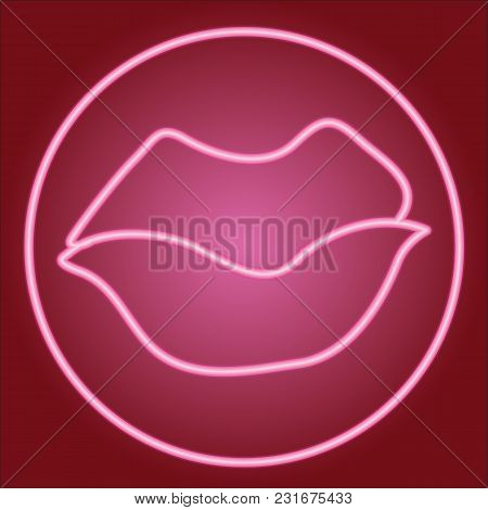 Closed Lips In The Neon Circle. Neon Icon. Neon Sign. Effect Of Neon Glow. Vector Image.