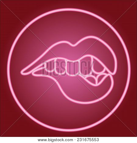 Teeth Bite The Lower Lip, In The Neon Circle. Neon Icon. Neon Sign. Effect Of Neon Glow. Vector Imag