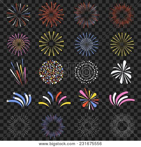 Festive Fireworks Isolated On Transparent Background. Brightly, Colorful And Monochrome Celebration