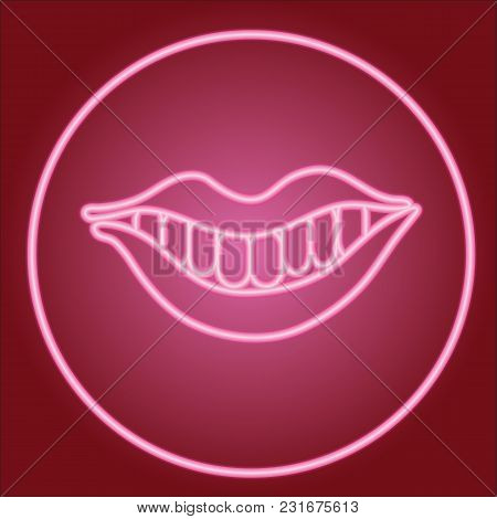 Smile With Lips And Teeth, In Neon Circle.neon Icon. Neon Sign. Effect Of Neon Glow. Vector Image.