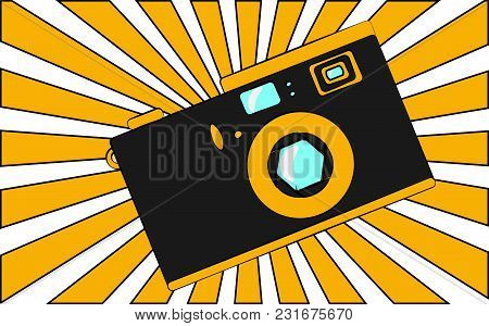 Old Black And Yellow Retro Vintage Antique Hipster Obsolete Camera Against The Background Of Orange