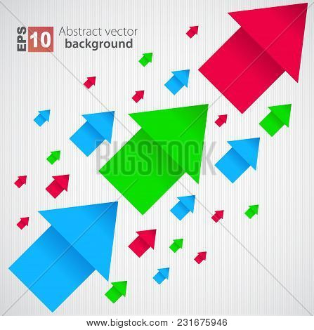 Abstract Colored Flying Arrows Background. Vector Illustration