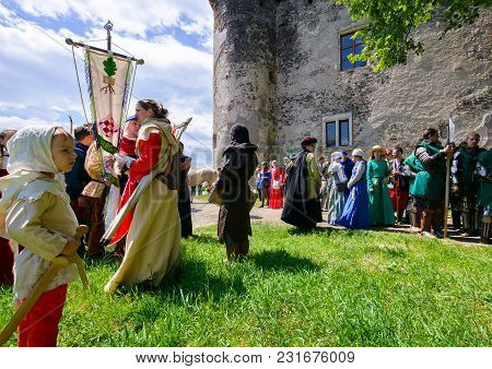 Chynadiyovo, Ukraine - May 27, 2017: Medieval Culture Festival Silver Tatosh. Location St. Miklos Ca