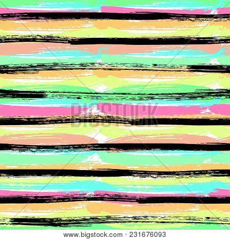Hand-drawn Stripes, Brushstrokes. Vector Seamless Pattern In Grunge Style Eps10