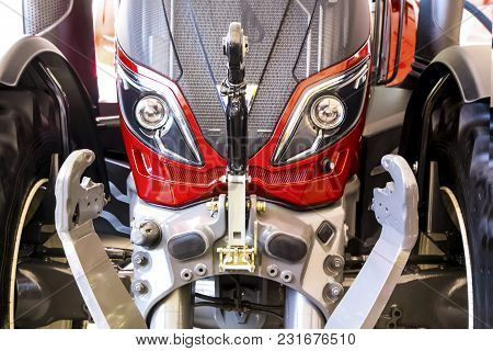 New, Red-gray Tractor Front, Close-up, Background Image, Extraterrestrial Robot