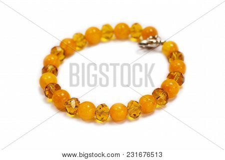 Bracelet Made Of Yellow Onyx And Crystal