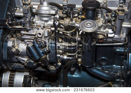 New Motor From Tractor, Close-up, Background Image