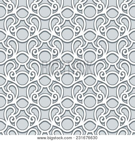Swirly Grey Ornament, Abstract Vector Seamless Pattern In Neutral Color