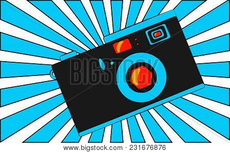 Old Blue Retro Vintage Antique Hipster Obsolete Camera With A Lens And A Diaphragm Against A Blue Tr
