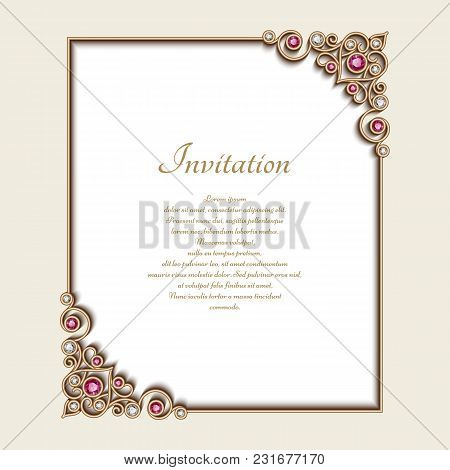 Vintage Gold Rectangle Frame With Jewellery Corner Patterns, Vector Jewelry Decoration, Elegant Wedd