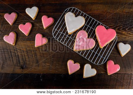 Heart Shaped Cookies With Copy Space Lower Left