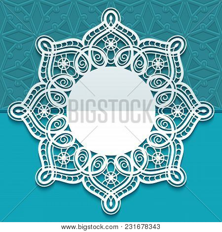 Greeting Card Or Wedding Invitation Template With Ornate Lace Edge, Round Doily With Lacy Border, Cu