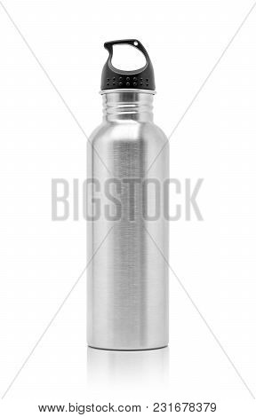 Metallic Aluminum Water Drinking Bottle For Sport Activity Isolated On White Background With Clippin