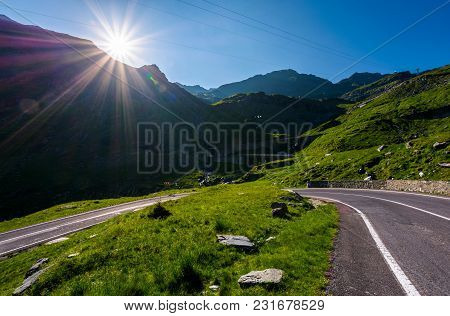 Transfagarasan Road In Romania Mounatins. Lovely Transportation Background In Summer Time