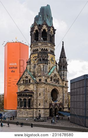 Berlin, Germany - April 14, 2017: The Kaiser Wilhelm Memorial Church, Converted Into A War Memorial,