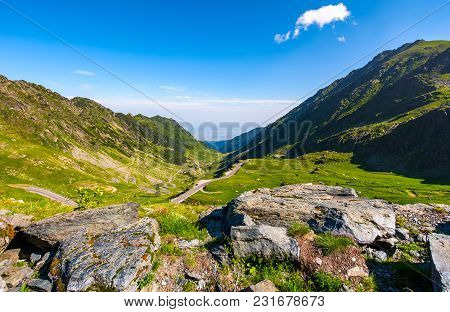 Transfagarasan Road Is Gorgeous Travel Destination. Lovely Mountainous Landscape And Popular Tourist