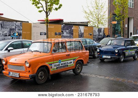 Berlin, Germany - April 19, 2017: Classic Trabant Cars For Hire On April 19, 2017 In Berlin, Germany