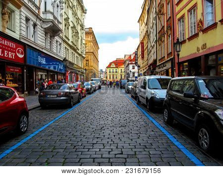 Czech Republic, Prague - August 30, 2014: Street In The Historical Center Of Prague. Ancient Medieva