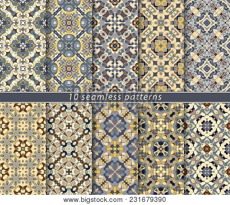 Vector Set Of Ten Seamless Abstract Patterns In Ethnic Style. Decorative And Design Elements For Tex