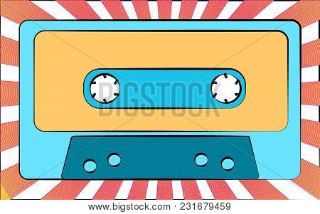 An Old Blue Retro Vintage Antique Hipster Music Audio Cassette For A Tape Recorder On A Background O