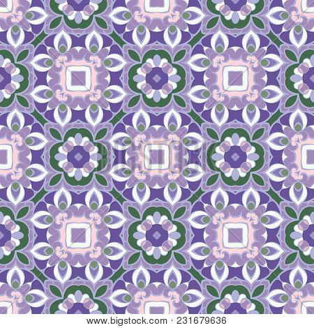Seamless Floral Pattern In Lilac And Green Colors. Decorative And Design Element For Textile Or Book