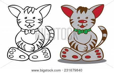 Illustration On White Background Cartoon Cat With Big Ears And In Bowtie