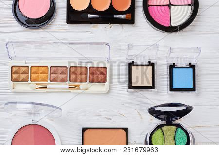 Multicolored Eyeshadows Collection, Top View. Set Of Female Decorative Cosmetics Palette On White Wo