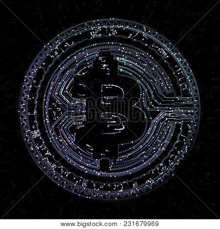 Bitcoin Digital Currency And World Globe Hologram, Futuristic Digital Money And Technology Worldwide