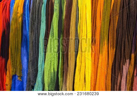 An Rainbow Colored Textiles, Exposed For Sale.