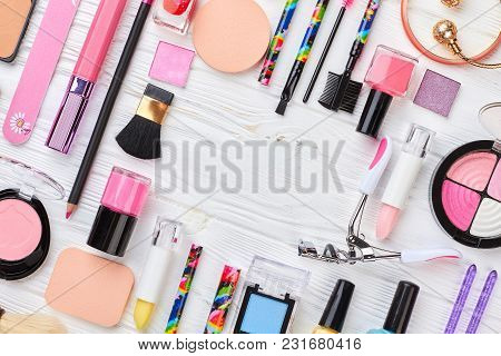 Makeup Cosmetics Set On Wooden Background. Make Up Artist Cosmetics Objects, Top View. Visagiste Cos