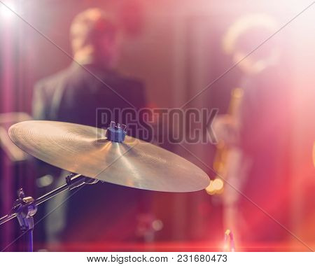 Drums And Cymbals, Concert Performance Concert, Selective Focus On Equipment. A Musician Playing Wit