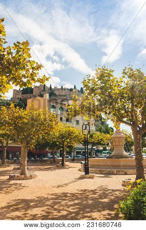 Low Angle View On Chateau De Cassis Castle On Top Of Hill On Bright Autumn Day In Cassis, France