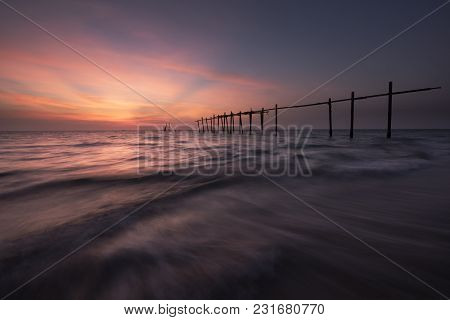 Beautiful Colored Sky During Sunset At Pilai Beach, Phang-nga Province, Thailand