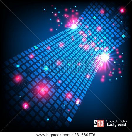 Abstract Pixel Neon Art Background With Glowing Dots. Vector