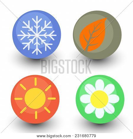 Four Season Vector Icon Set, Seasonal Button With Glassy Lustre And Shadow - Spring Flower, Autumn L