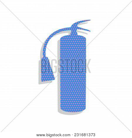 Fire Extinguisher Sign. Vector. Neon Blue Icon With Cyclamen Polka Dots Pattern With Light Gray Shad