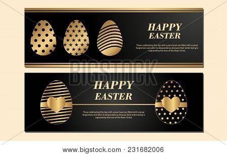 Happy Easter Banner Isolated On Light Black Background. Golden Eggs. Paper. Vector Illustration For