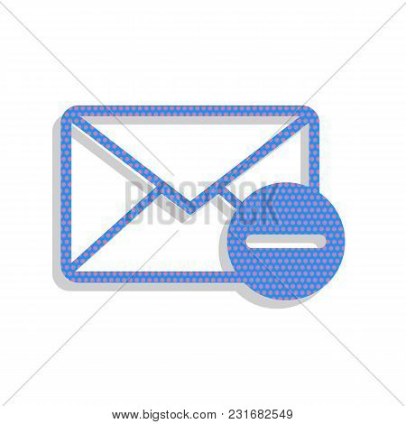 Mail Sign Illustration With Remove Mark. Vector. Neon Blue Icon With Cyclamen Polka Dots Pattern Wit